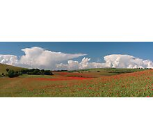 Dotted hills, rising clouds Photographic Print