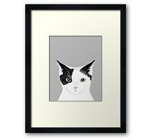 Manny - Black and white cute cat gift cat person cat lady funny cat meme pet portraits customizable  Framed Print