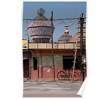 Street scene with bicycle, Udupi, India Poster