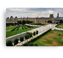 Paris and Le Louvre Museum Canvas Print