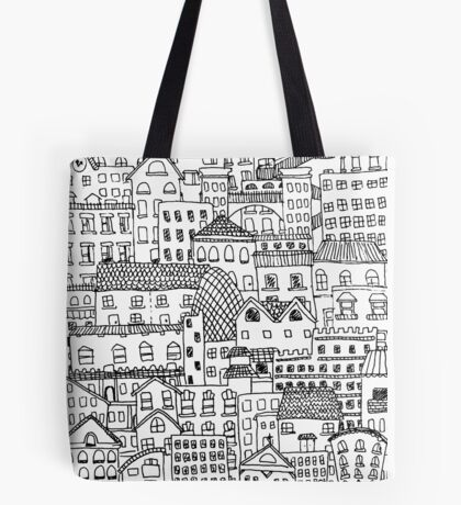 messy town of buildings and windows Tote Bag