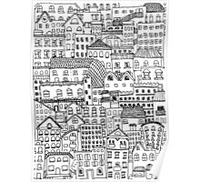 messy town of buildings and windows Poster
