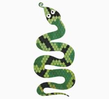 Snake Black and Green Print Kids Tee