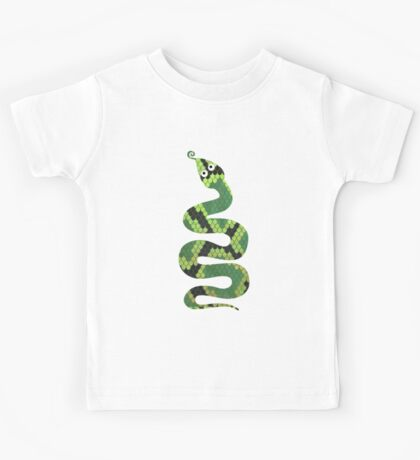Snake Black and Green Print Kids Tee