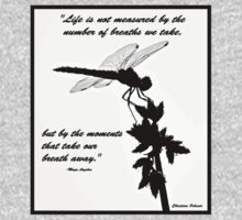 Black and White Dragonfly with quote Kids Tee
