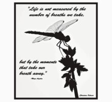 Black and White Dragonfly with quote Kids Clothes