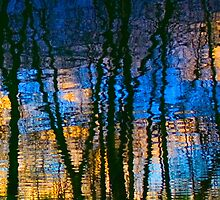 Blue & Yellow Abstract Reflections by Pixie Copley LRPS