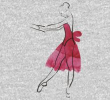 Vector hand drawing ballerina figure, watercolor illustration One Piece - Short Sleeve