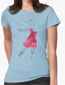 Vector hand drawing ballerina figure, watercolor illustration Womens Fitted T-Shirt