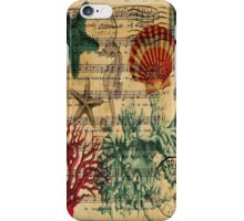 retro music notes ocean seashells vintage coral iPhone Case/Skin
