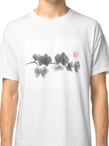 Curious orchid sumi-e painting  Classic T-Shirt
