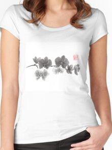 Curious orchid sumi-e painting  Women's Fitted Scoop T-Shirt