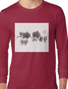 Curious orchid sumi-e painting  Long Sleeve T-Shirt