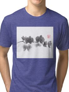Curious orchid sumi-e painting  Tri-blend T-Shirt