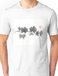 Curious orchid sumi-e painting  Unisex T-Shirt