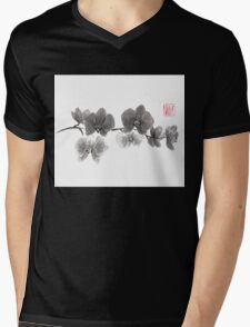 Curious orchid sumi-e painting  Mens V-Neck T-Shirt