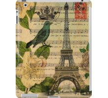 white roses vintage eiffel tower music notes art iPad Case/Skin