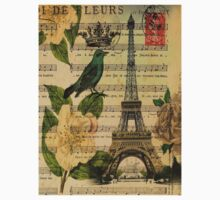 white roses vintage eiffel tower music notes art Kids Clothes