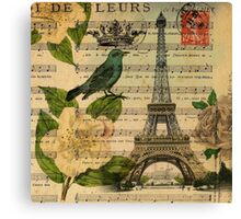 white roses vintage eiffel tower music notes art Canvas Print