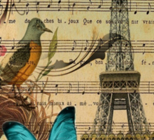 vintage paris eiffel tower music notes botanical art Sticker