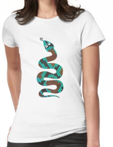 Snake Brown and Teal Print Womens Fitted T-Shirt