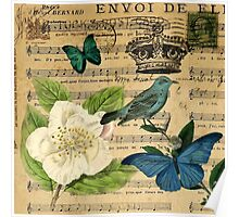 classic vintage butterfly rose music notes art Poster