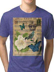 vintage Bird butterfly rose music notes Paris Tri-blend T-Shirt