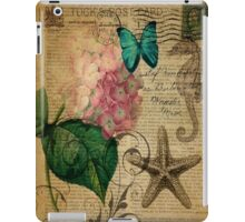 vintage starfish butterfly hydrangea floral botanical art  iPad Case/Skin