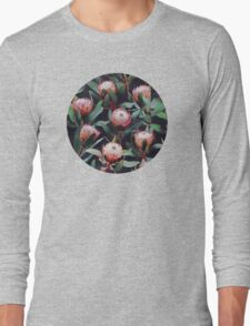 Evening Proteas - Pink on Charcoal Long Sleeve T-Shirt