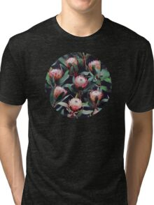 Evening Proteas - Pink on Charcoal Tri-blend T-Shirt
