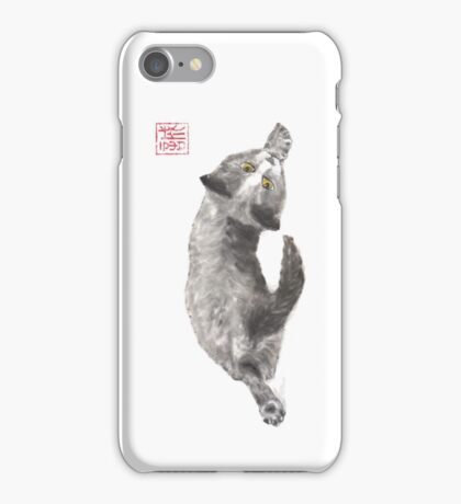 Dreamer kitten sumi-e painting iPhone Case/Skin