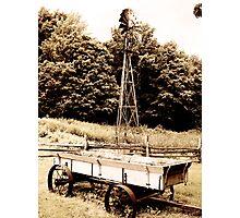 Windmill & Wagon Sepia Photographic Print