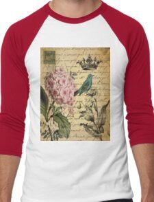 vintage paris hydrangea floral botanical art Men's Baseball ¾ T-Shirt