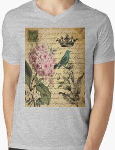 vintage paris hydrangea floral botanical art Mens V-Neck T-Shirt