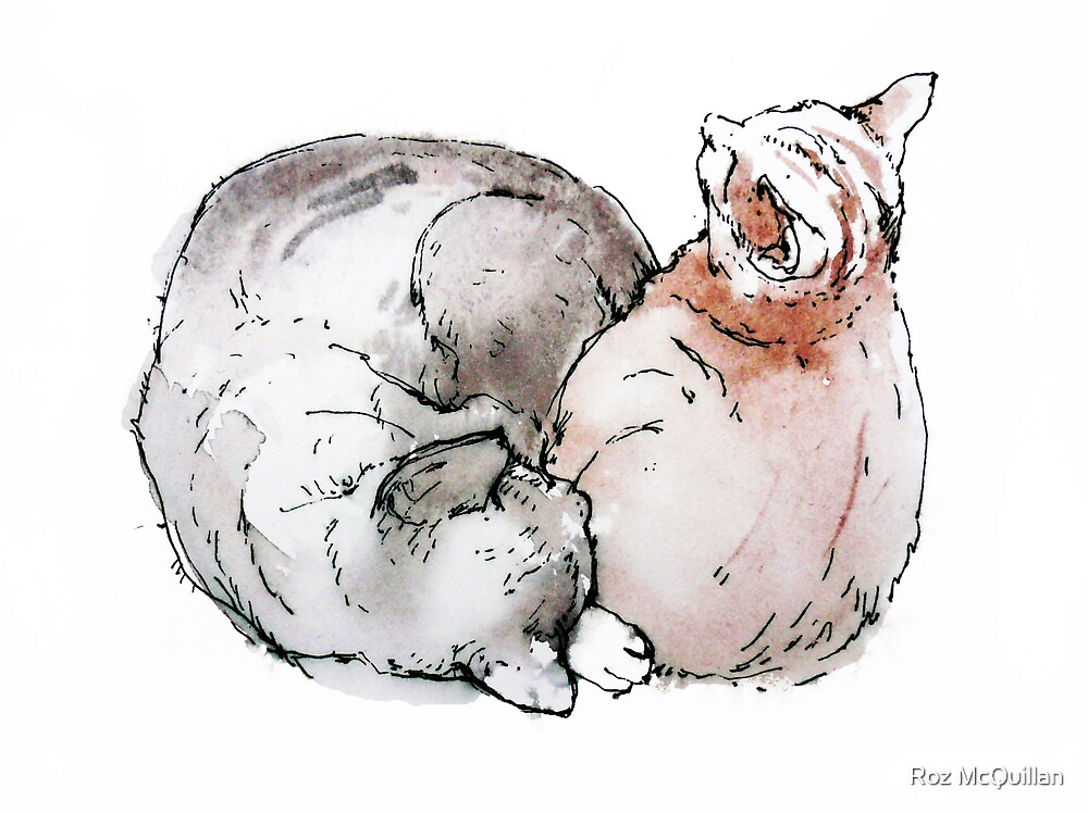 two cats at rest... by Roz McQuillan