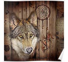 western country native dream catcher wolf art Poster