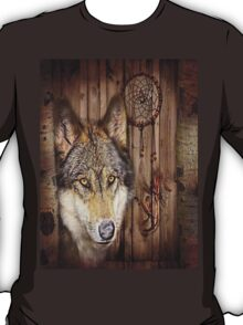western country native dream catcher wolf art T-Shirt