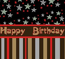Happy Birthday stars and stripes by Donna Grayson