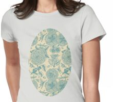 Garden Bliss - teal & cream  Womens Fitted T-Shirt