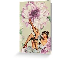 vintage purple floral retro pin up girl Greeting Card