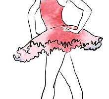 ballerina figure, watercolor illustration by OlgaBerlet