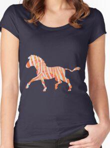 Zebra Orange and White Print Women's Fitted Scoop T-Shirt
