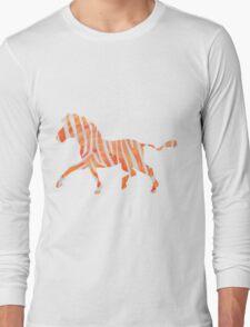 Zebra Orange and White Print Long Sleeve T-Shirt