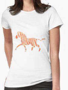 Zebra Orange and White Print Womens Fitted T-Shirt