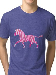 Zebra Hot Pink and White Print Tri-blend T-Shirt