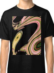 modern abstract black green neon pink swirls Classic T-Shirt