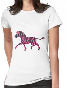 Zebra Black and Hot Pink Print Womens Fitted T-Shirt