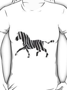 Zebra Black and Light Gray Print T-Shirt