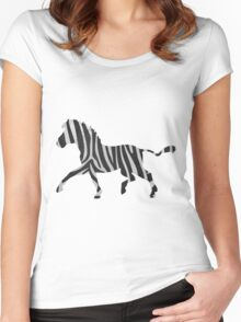 Zebra Black and Light Gray Print Women's Fitted Scoop T-Shirt
