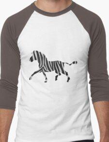 Zebra Black and Light Gray Print Men's Baseball ¾ T-Shirt
